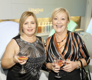 Carol Daly and Breda Carroll at the Dylan Bradshaw Client Appreciation Night in their luxury salon on South William Street, Dublin 2.photo Kieran Harnett no repro fee